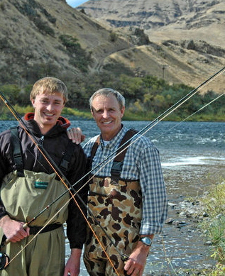 John Roskelly, fishing with his son Jess - Photo by Joyce Roskelley