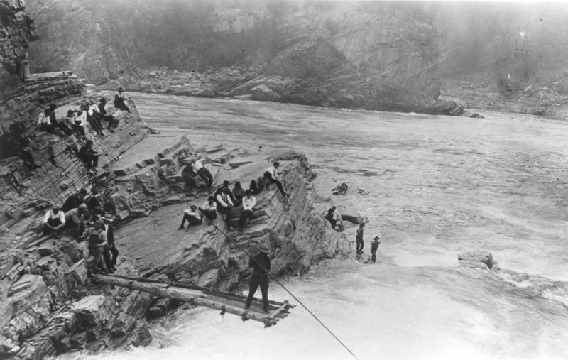 Kettle Falls. Kettle Falls was an incredibly rich salmon fishing spot and gathering place for the Tribes since time immemorial, and is flooded by Lake Roosevelt, the reservoir behind Grand Coulee dam. (Northwest Museum of Arts & Culture photo)